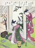 Suzuki Harunobu (鈴木 春信4, 1724 – July 7, 1770) was a Japanese woodblock print artist, one of the most famous in the Ukiyo-e style. He was an innovator, the first to produce full-color prints (nishiki-e) in 1765, rendering obsolete the former modes of two- and three-color prints.<br/><br/>  Harunobu used many special techniques, and depicted a wide variety of subjects, from classical poems to contemporary beauties (bijin, bijin-ga). Like many artists of his day, Harunobu also produced a number of shunga, or erotic images.<br/><br/>  During his lifetime and shortly afterwards, many artists imitated his style. A few, such as Harushige, even boasted of their ability to forge the work of the great master. Much about Harunobu's life is unknown.